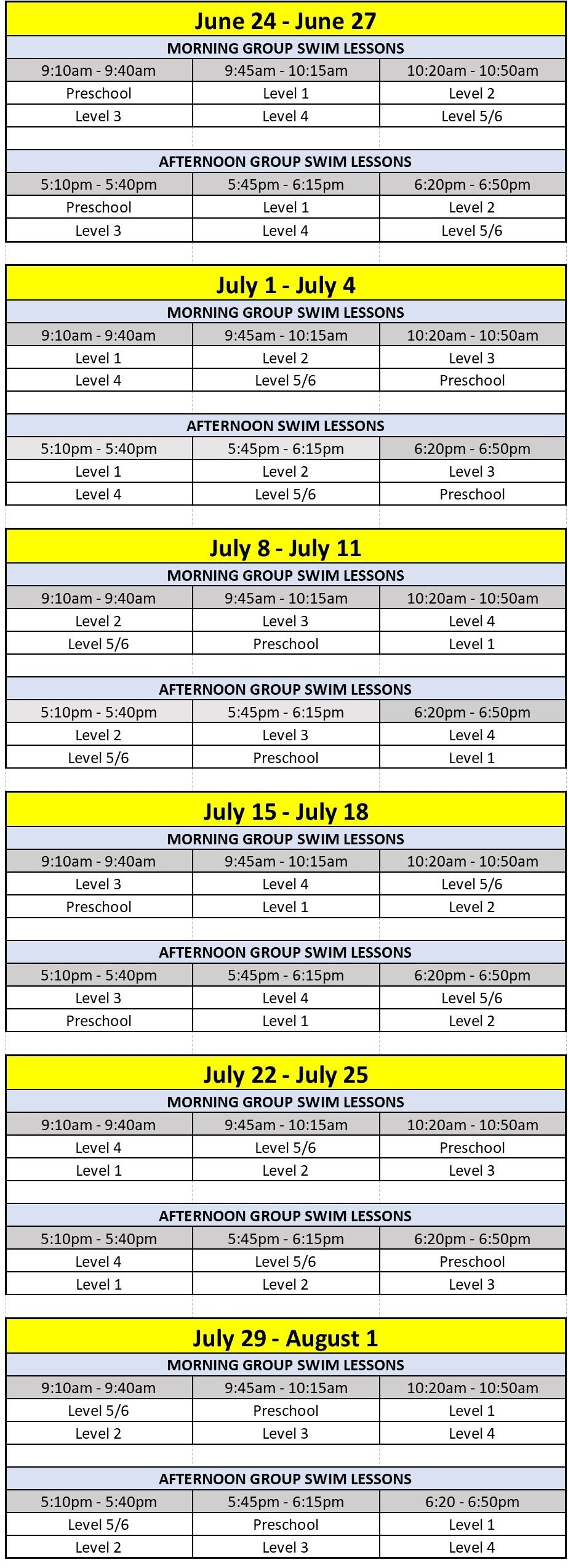 Group Lesson Schedule - June 24 to June 27, 2019 (JPG)