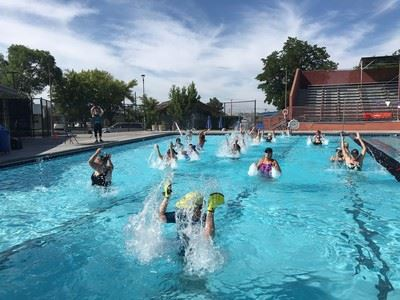 People participating in Aqua Zumba